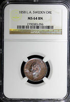 "SWEDEN Oscar I Bronze 1858 1 Ore NGC MS64 BN  VARIETY ""L.A."" KM# 687"
