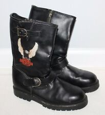 Harley Davidson Mens? Stealth Motorcycle Boots Patch Zip Black Riding 71135 sz 5