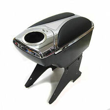 Universal Chrome Armrest Arm Rest Centre Console Storage Leather Box Cup Holders