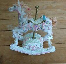 Musical Carousel Horse Ceramic Resin w/Rocking Piston Plays Impossible Dream