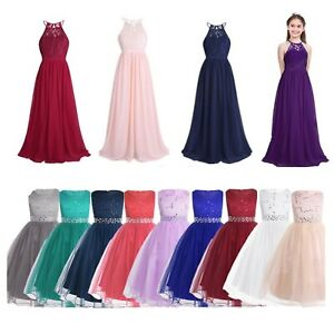 Big Flower Girls Party Dress Lace Mesh Wedding Princess Pageant Prom Ball Gown