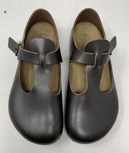 new BIRKENSTOCK Leather Mary Jane's Shoes PARIS brown US7-7.5 EU38 UK5 Regular