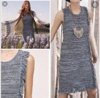 ANTHROPOLOGIE Holding Horses Blue Knit Fringed Sleeveless Sweater Dress Small