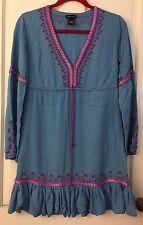 MODA INTERNATIONAL Blue Peasant Boho Dress Tunic Top Embroidery Ribbon Womens S