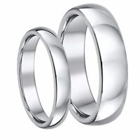 Titanium Wedding Rings His & Hers 4mm & 6mm Set Highly Polished Solid