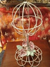 French Hat Stand Metal Pink Roses Beautiful Wig Stand Too