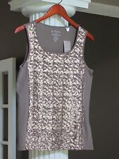 Chico's Texas Taupe Sequin Embellished Lined Tank Top Shell Cami Size S/M  NWT