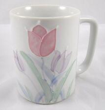 Otagiri Tulips Floral Coffee Mug Cup Embossed Pastel Porcelain Vintage Japan