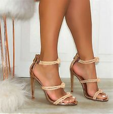 Rose Gold Strappy Roped Knots Open Toe Heel Sandals, US 5.5 - 10