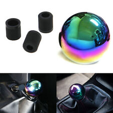 Car Neo Chrome Manual Round Shift Knob Shifter Ball Aluminum W/ 3Adapters #