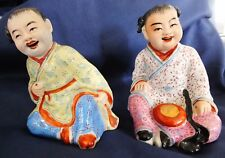 Chinese Republican Porcelain Child Figures Signed
