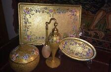 Antique DeVilbiss 4Ps 22K Gold Enamel Vanity Set Perfume Bottle Atomizer Signed