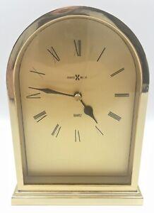 Vintage HOWARD MILLER Quartz mantel desk clock. Gold tone finish Tested. NICE!