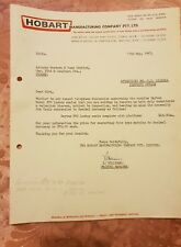 Hobart Manufacturing Company Letter to Anthony  Hordern & Sons - 1967