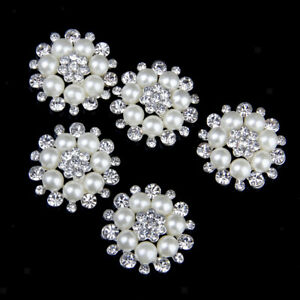 5x Hanging Pearl Crystal Buttons Fancy Beads Jewellery Maker Outfits Dresses
