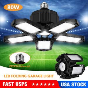 80W 10000LM Deformable LED Garage Light Super Bright Shop Ceiling Lights Bulb