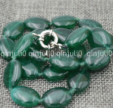 100%Genuine Natural 13x18mm Green Emerald Oval Beads Necklace 18 inches JN2396