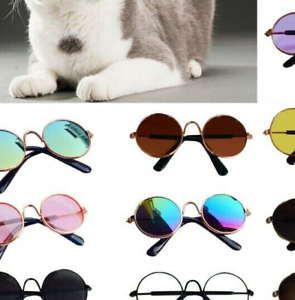 Pet Products Lovely Vintage Round Cat Sunglasses Reflection Eye wear glasses