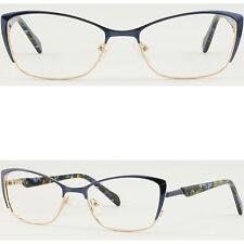 Cats Eye Womens Metal Frame Light Prescription Glasses Spring Hinges Blue Gold