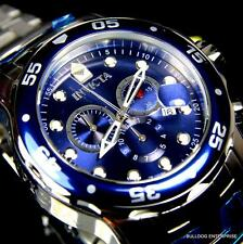 Invicta Pro Diver Scuba Silver Blue Steel Band Chronograph Swiss Parts Watch New
