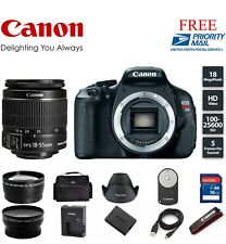 Canon EOS Rebel T3i / EOS 600D 18.0MP DSLR Camera (Kit w/ 18-55mm lens) (3 LENS)