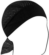 Zan Lightweight Polyester Vented Black Headwrap / Do-Rag / Skull Cap