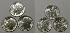 1961-P SILVER DIMES LOT 3 COINS GEM UNCIRCULATED CONDITION INV#427-65