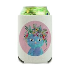 Blue Cat Flower Hat Can Cooler Drink Sleeve Hugger Collapsible Insulated Holder