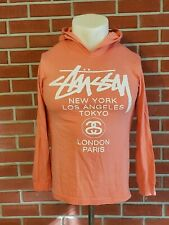 Stussy Unisex Long Sleeve Hooded Shirt 100% Cotton Pink Size Small Double Sided