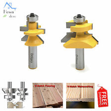 """1/2"""" Tongue Groove V Notch Router Bits Micro Grain Wood Panel Chisel Tool Set 2p"""