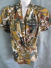 90's San Andre Scarf Print Blouse Size 12 Doleman Sleeve