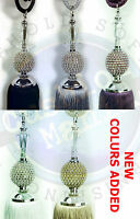 Tie Backs Pair Of Large Crystal Ball Diamante Curtain Tassel Black Silver