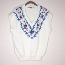 Vintage 80s Sweater Vest Cottagecore Grannycore Floral Sleeveless Knit Pullover