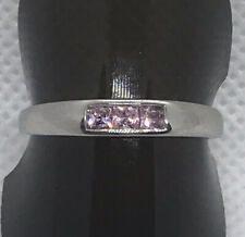 9ct White Gold 3 Stone Channel Set Princess Cut Pink Cubic Zirconia Ring