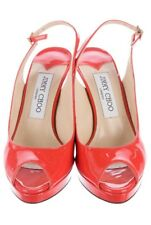 Jimmy Choo Nova Shoes Pumps Sandals Patent Leather Coral Orange Tangerine 5.5