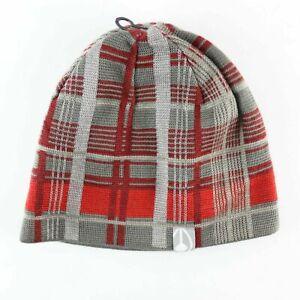 Nixon New Plaid Beanie Hat Grey Red One Size