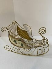 Vintage Gold Metal Sleigh Gold Holly Accents Christmas Decor