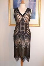 1920s Style STARLIGHT Black Iridescent Beaded Flapper Dress-S,M,L,XL or Plus siz