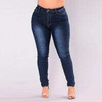Women Plus Size Stretch Slim Denim Skinny Jeans Pants High Waist Pencil Trousers