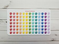 91 Rainbow Paw Print Planner Stickers- Perfect For Any Planner- Erin Condren
