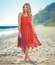 Women's Coral Crochet Convertible Cover Up Summer Dress Beach Skirt Large 14/16