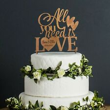 Wedding Cake Topper Personalised Mr & Mrs Table Decoration Favour Rustic Wood