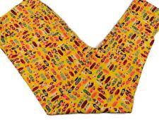 Lularoe Womens Leggings TC2 18-28W Yellow Pink Teal Neon Feathers Aztec Plus Sz