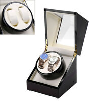 Dual Watch Winder Storage Display Case Wood Box Automatic Rotation Holiday Gift