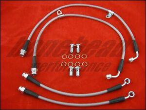 Pro Braking PBR9658-ORA-RED Rear Braided Brake Line Orange Hose /& Stainless Red Banjos