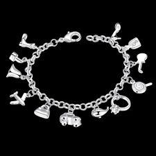 925 Hallmark Sterling Silver Filled Crystals Pendants Charm Woman Bracelet BL348
