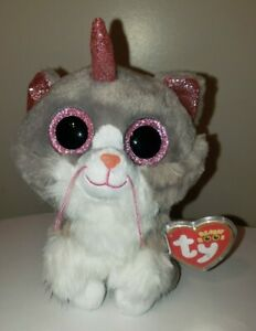 Ty Beanie Boos - ASHER the Unicorn Cat (6 Inch) NEW - MINT with MINT TAGS