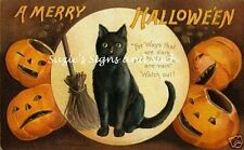 Fabric Block Vintage Halloween Merry Halloween CAT Ellen Clapsaddle