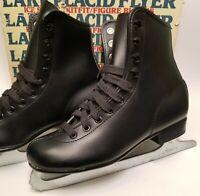 Lake Placid Aerflyte Ice Figure Skates Size 3 Black Vintage Lace Up Youth Boy's