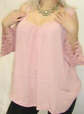 SXY PiNK CROCHET BOHO CUT OUT COLD SHOULDER LOOSE WOMEN LONG PLUS TOP BLOUSE 1X